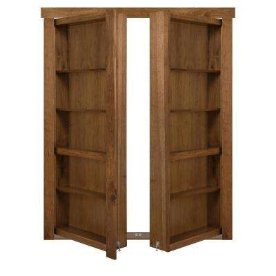72 in. x 80 in. Flush Mount Assembled Hickory Medium Stained Out-Swing Solid Core Interior French Bookcase Door