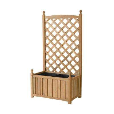 Lexington 28 in. x 16 in. Natural Wood Planter with Trellis