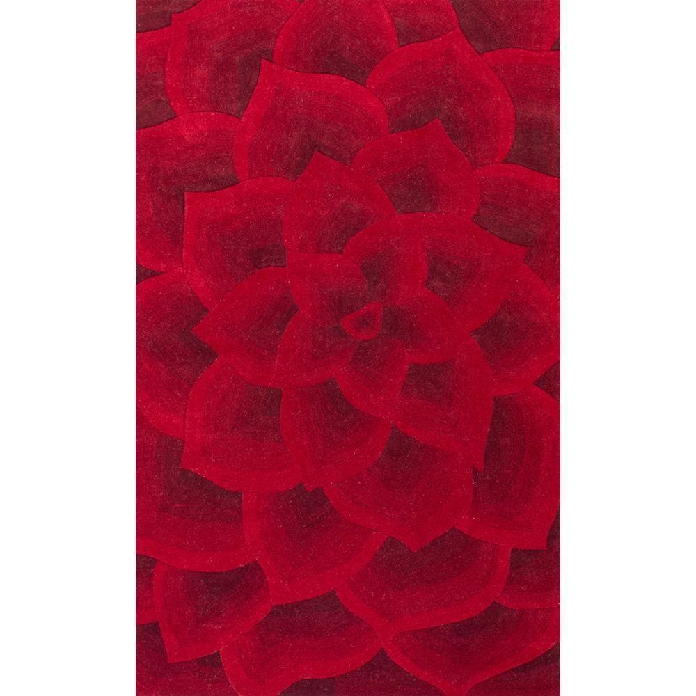 Rose Floral Red 8 ft. x 10 ft. Area Rug