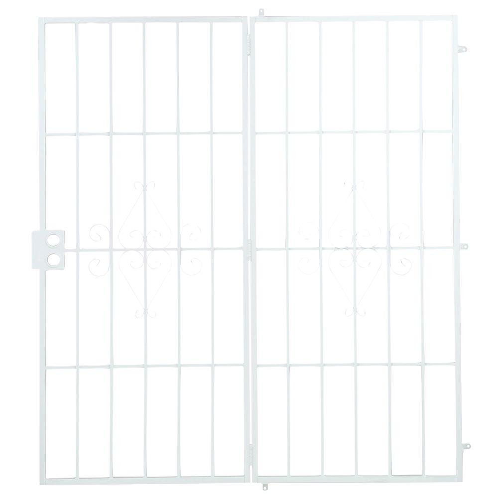 Unique Home Designs 72 in. x 80 in. Su Casa White Projection Mount Outswing Steel Patio Security Door with No Screen