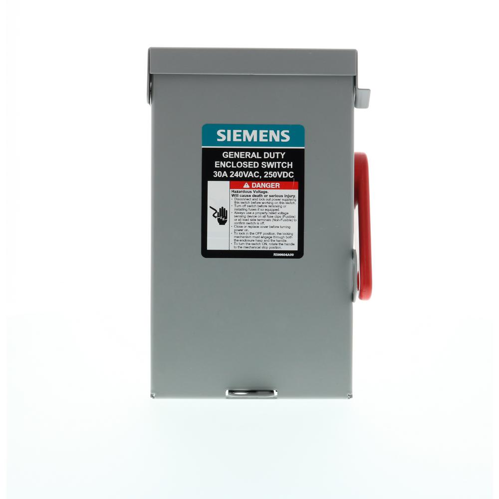 general duty 30 amp 3-pole 3-wire 240-volt non-fusible indoor safety switch
