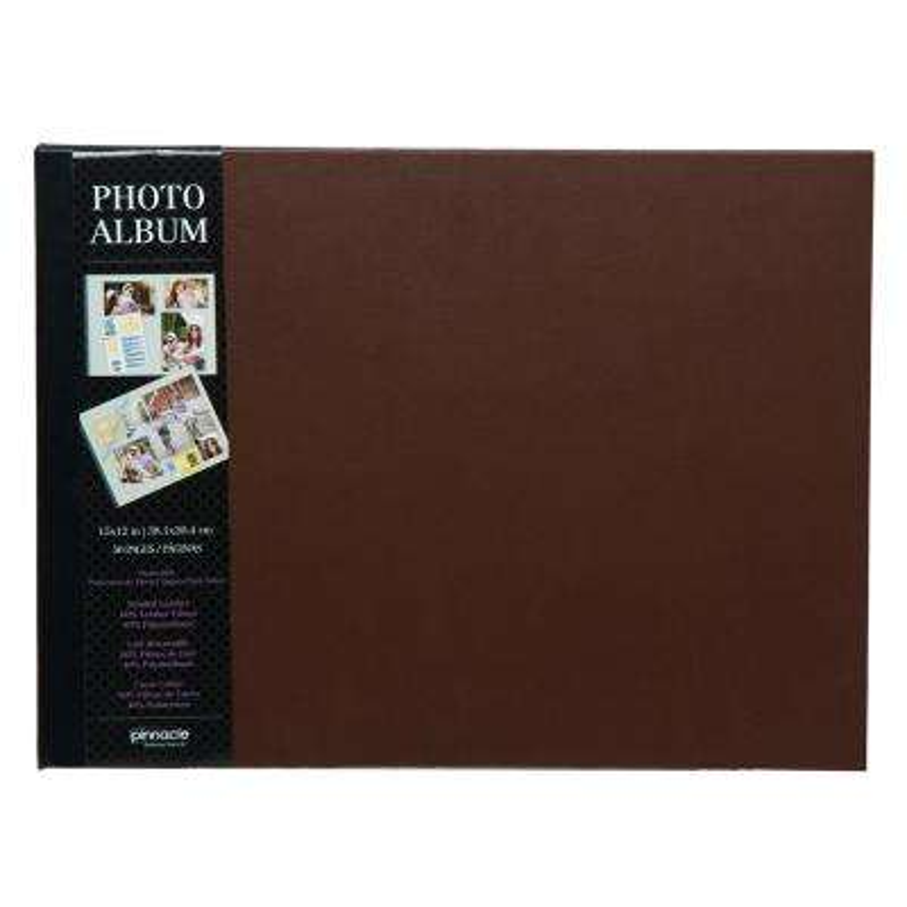 Premium 11 in. x 14 in. Brown Leather Photo Album