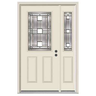 50 in. x 80 in. 1/2 Lite Cordova Primed Steel Prehung Left-Hand Inswing Front Door with Right-Hand Sidelite