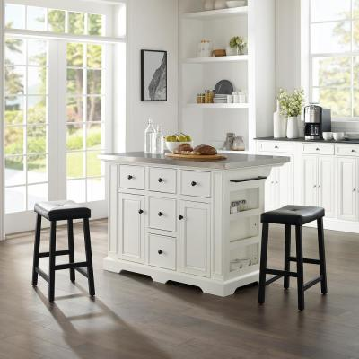Julia Black Kitchen Island with Saddle Stools