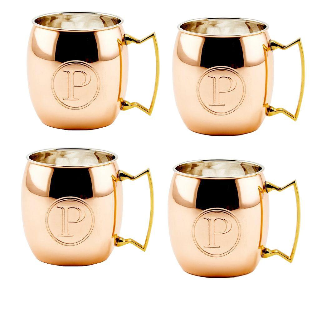 Monogram P 16 oz. Solid Copper Moscow Mule Mugs (Set of 4)
