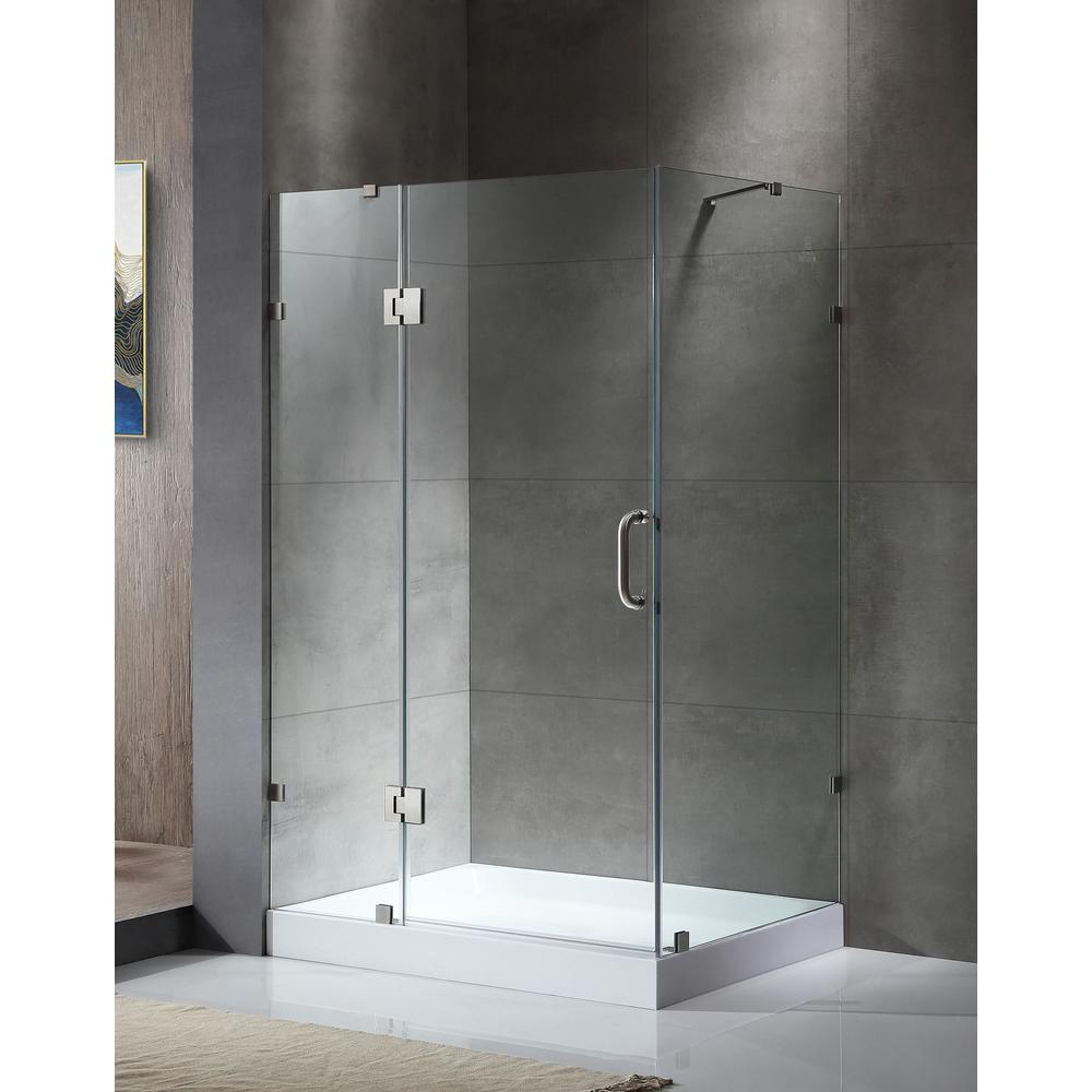 Anzzi archon series 46 in x 72 in frameless corner hinged shower door in brushed nickel sd - Corner shower doors ...