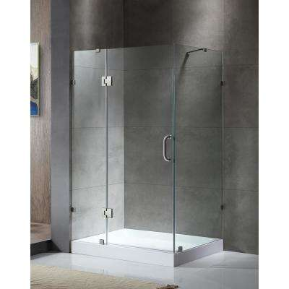 Archon Series 46 in. x 72 in. Frameless Corner Hinged Shower Door in Brushed Nickel