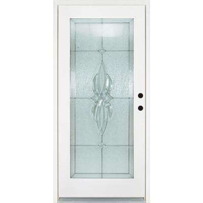 36 in. x 80 in. Scotia Smooth White Left-Hand Inswing Full 1 Lite Decorative Fiberglass Prehung Front Door