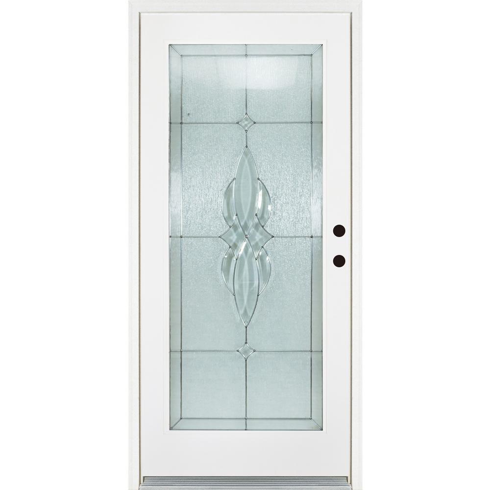 36 in. x 80 in. Scotia Smooth White Left-Hand Inswing Full 1 Lite Decorative Fiberglass Prehung Front Door