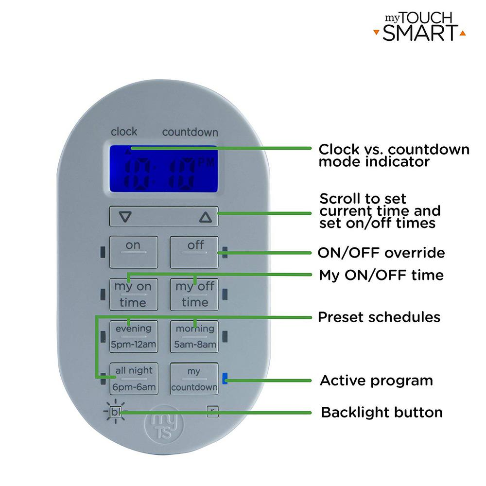 myTouchSmart Wireless Programmable Indoor Digital Timer with Remote 35166 Plugin