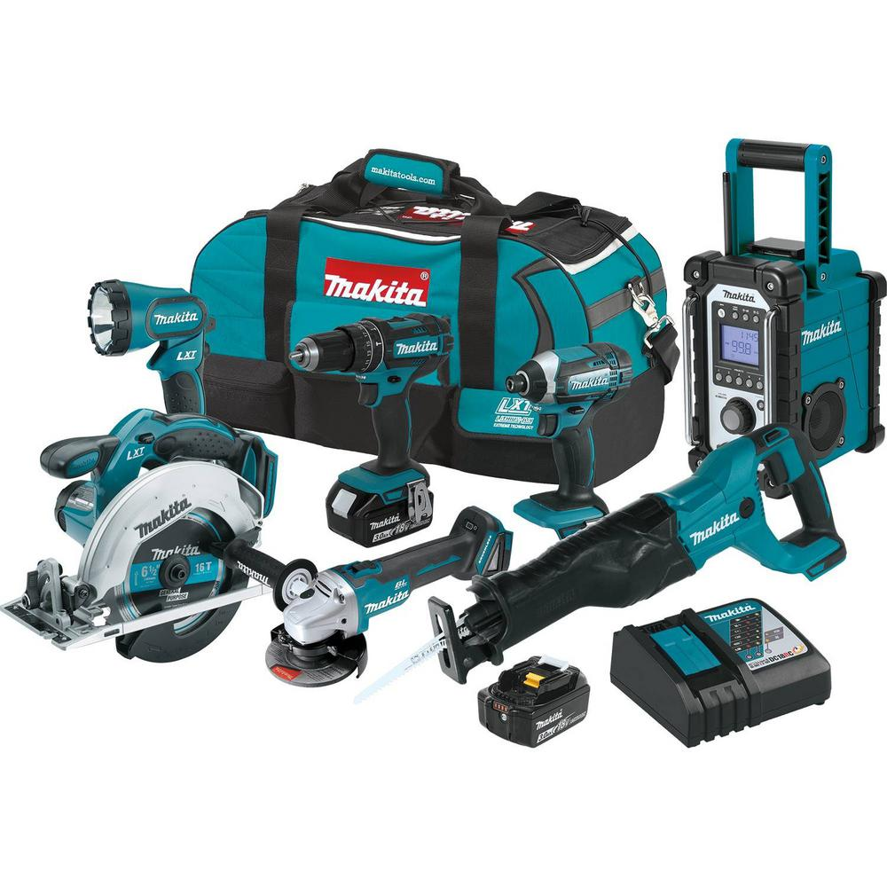 makita 18 volt 3 0ah lxt lithium ion cordless combo kit 7 piece xt704 the home depot. Black Bedroom Furniture Sets. Home Design Ideas