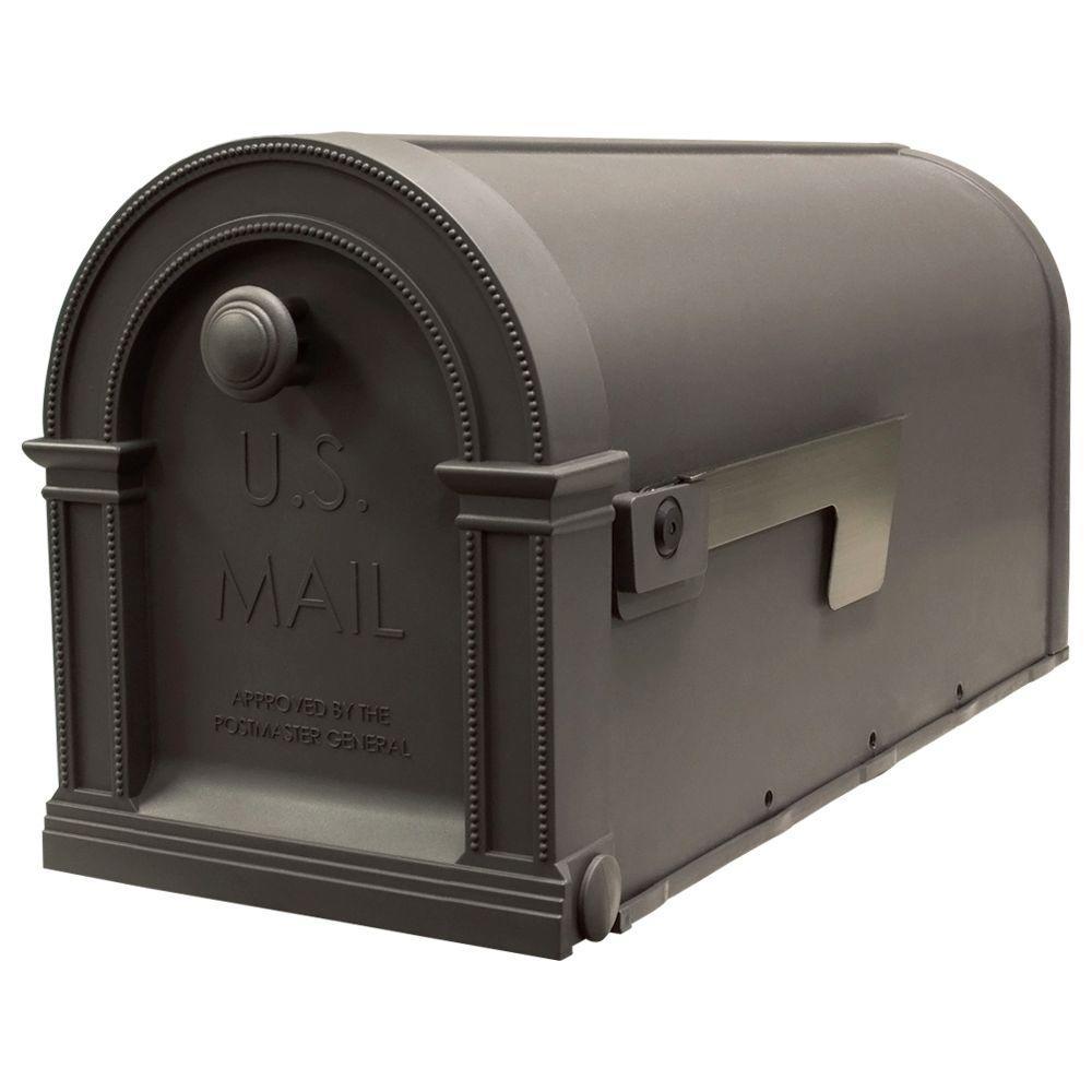 Gibraltar Mailboxes Laurel Decorative Rustic Weather Wood Plastic Post-Mount Mailbox