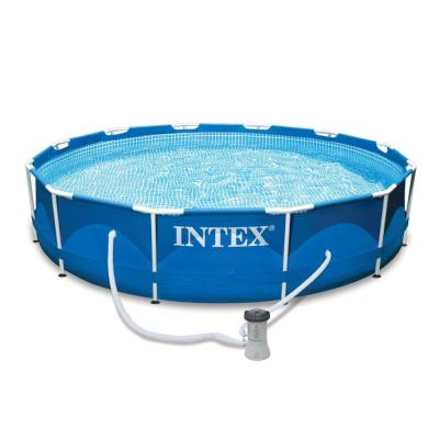 12 ft. Round 30 in. D Metal Frame Set Above Ground Swimming Pool with Filter and Cover