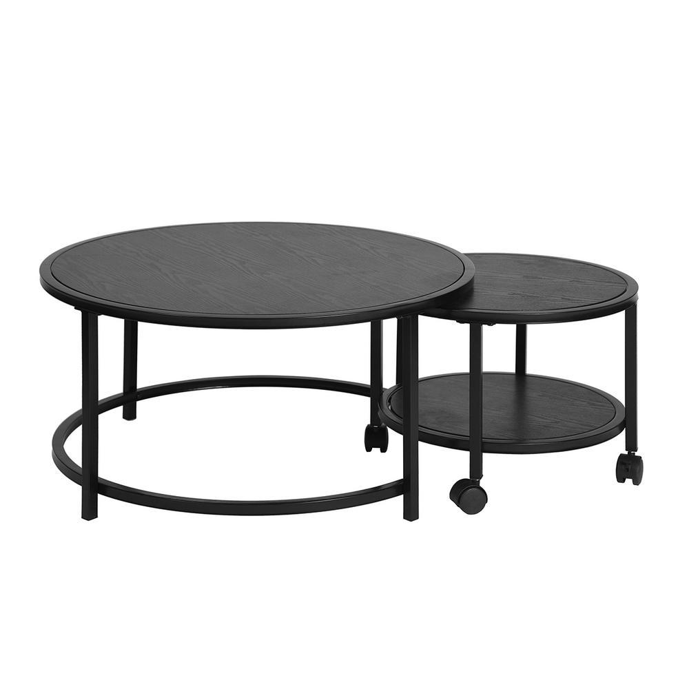 FurnitureR Neka Black Wood Round Wheel Coffee Table 2-Piece Deals