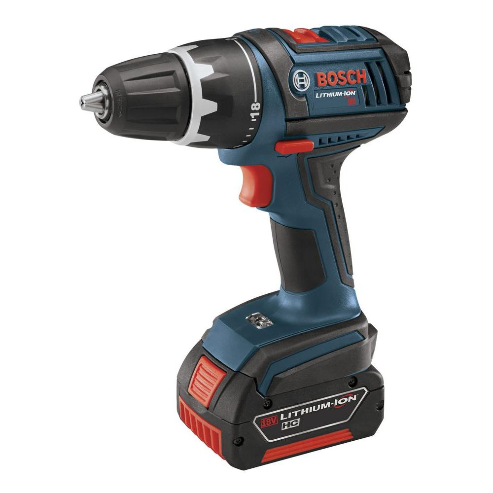 Bosch 18 Volt Lithium-Ion Cordless Electric 1/2 in. Compact Variable Speed Drill/Driver Kit with (2) 4.0 Ah Batteries