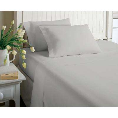 6-Piece Grey Solid Cotton Rich King Sheet Set