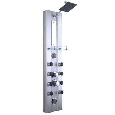 46 in. 10-jet Shower System with Hand-Shower and Thermostatic Valve in Aluminum