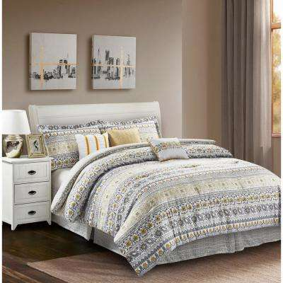 Chloe Yellow 7-Piece King Comforter Set