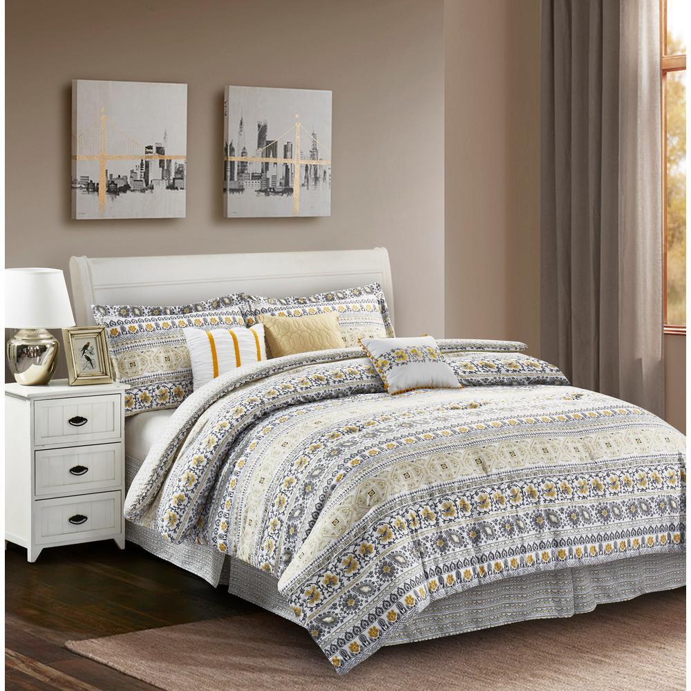 R2zen Chloe 7 Piece Yellow Grey Full, Grey And Teal Bedding
