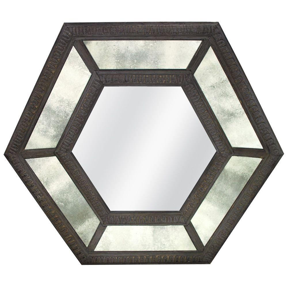 MCS 31.25 in. x 36.25 in. Antique Glass Hexagon Framed Mirror