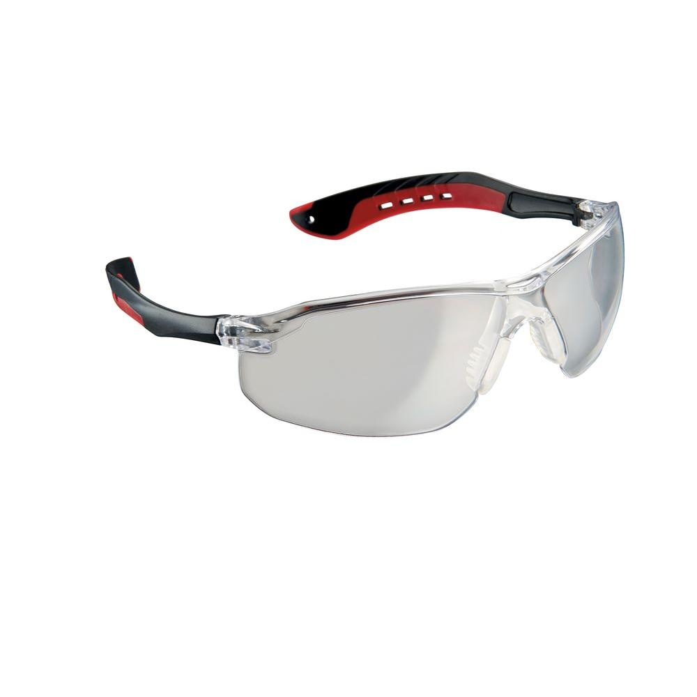 Black/Red Frame with Clear Scratch Resistant Lens Flat Temple Safety Eyewear