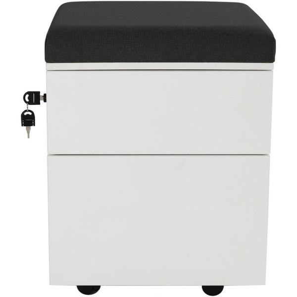 CASL Brands 2-Drawer Wheeled White Storage Cabinet with Black Cushion LUM-240-BK