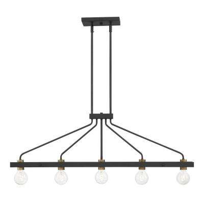 Ravella 5-Light Black Interior Island Chandelier