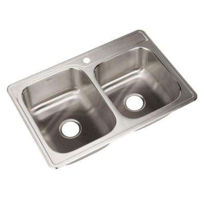 Glowtone Series Drop-In Stainless Steel 33 in. 1-Hole Double Bowl Kitchen Sink