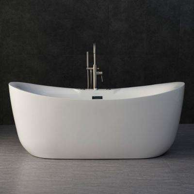 Venezia 71 in. Acrylic Freestanding Double Slipper Whirlpool and Air Bathtub with Drain and Overflow Included in White