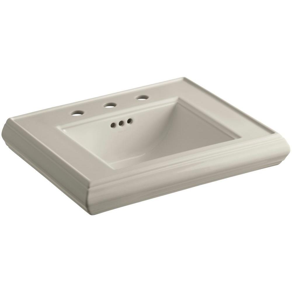 Memoirs 24 in. Ceramic Pedestal Sink Basin in Sandbar with Overflow Drain
