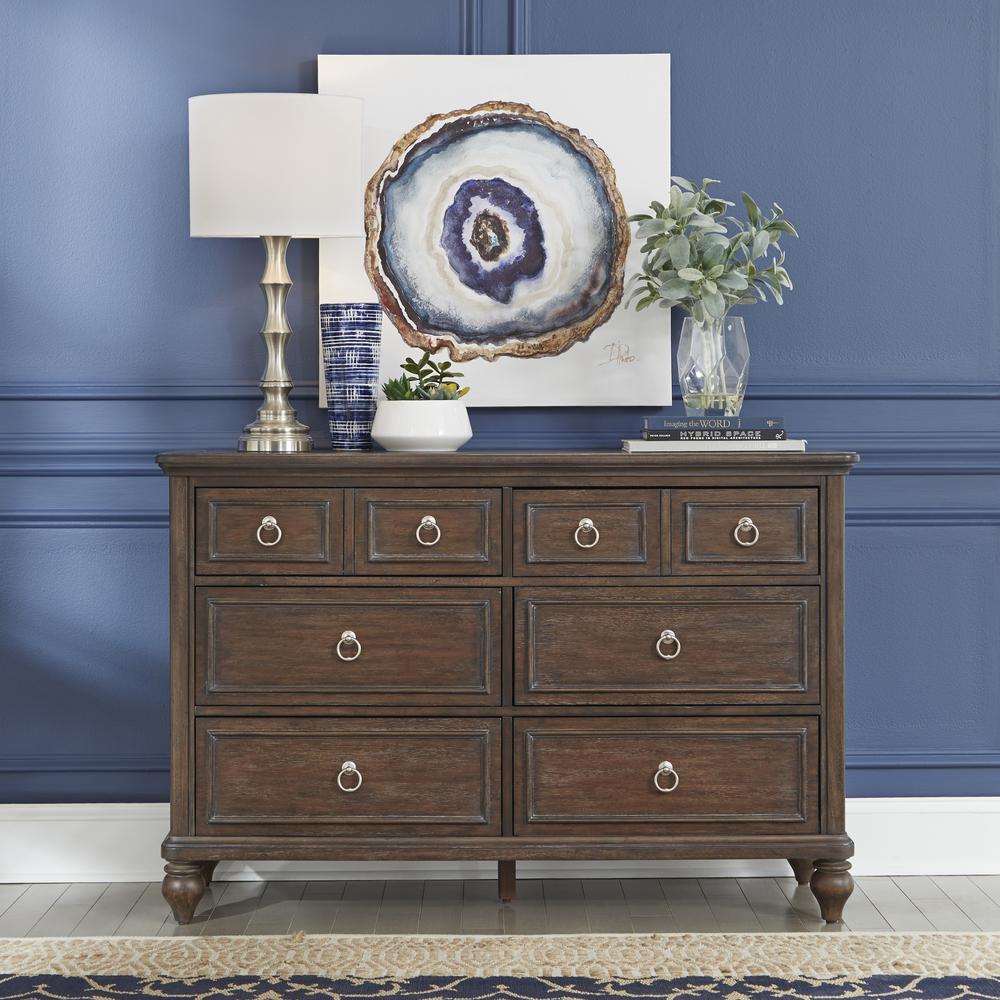 Southport 6-Drawers Dark Aged Oak Brown Dresser