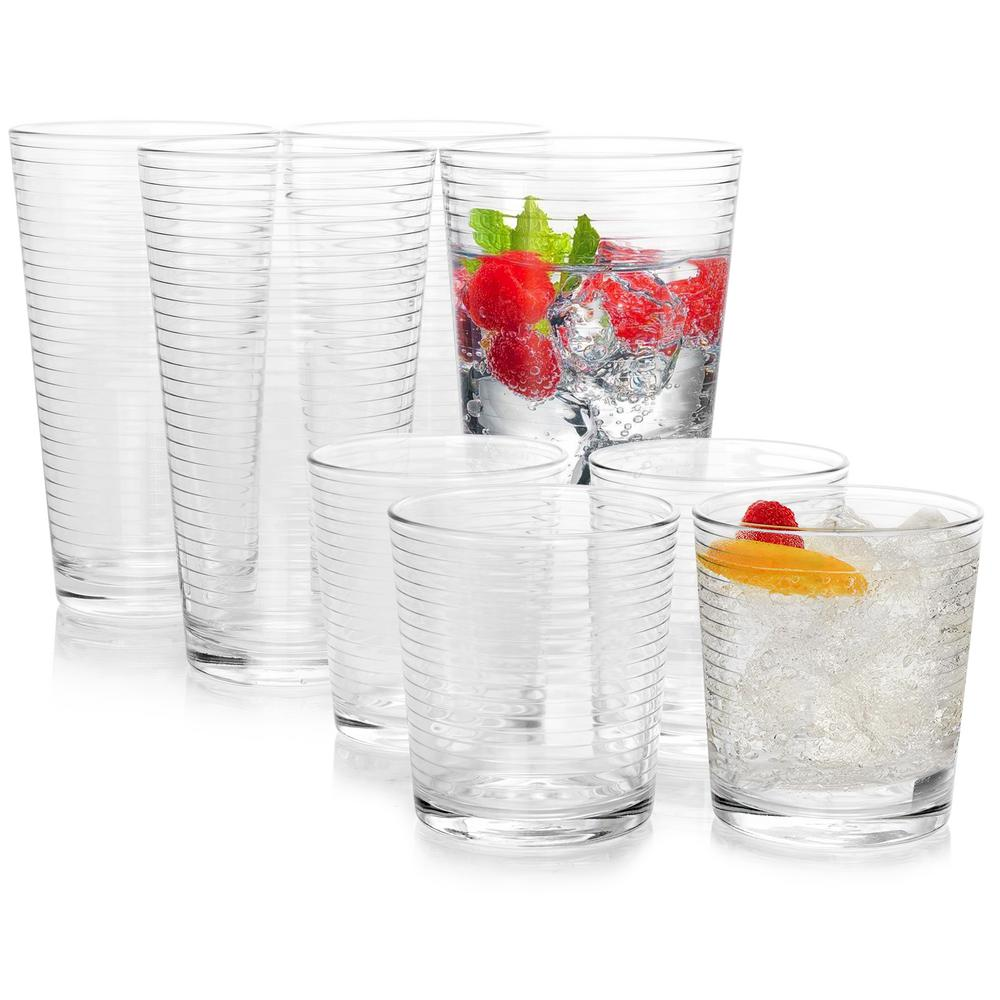 Rondo 16.75 fl. oz. and 13 fl. oz. Clear Glass Tumbler and Cooler Glass Set (Set of 16)