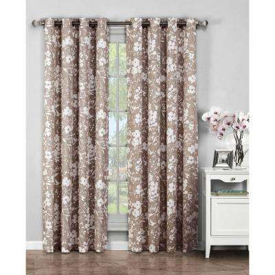 Semi-Opaque Florabotanica Printed Cotton Extra Wide 96 in. L Grommet Curtain Panel Pair, Mocha (Set of 2)