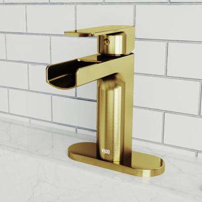 Ileana Single Hole Single-Handle Bathroom Faucet with Deck Plate in Matte Gold