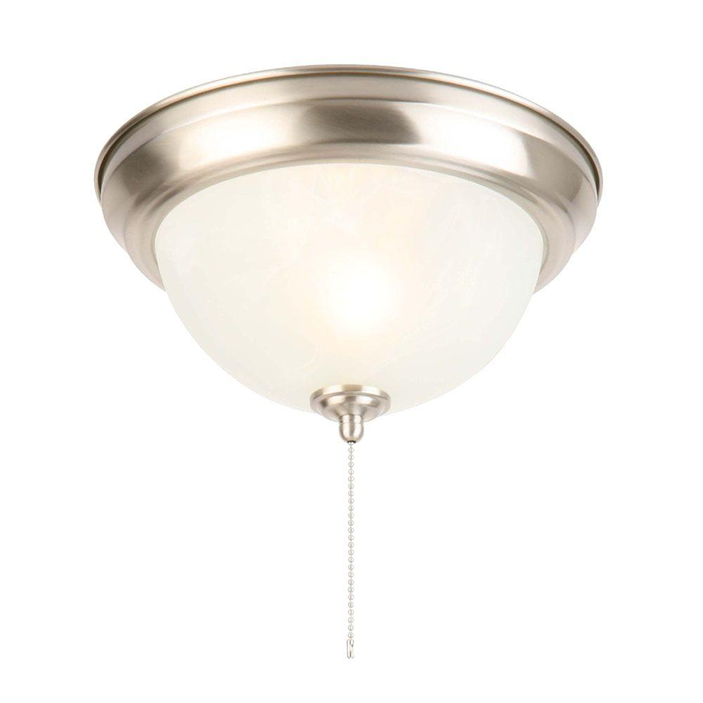 hampton bay 11 in 1 light brushed nickel flushmount with alabaster
