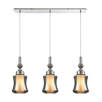 Alora 3-Light Linear Pan in Polished Chrome with Opal White Glass Inside Smoke Plated Glass Pendant