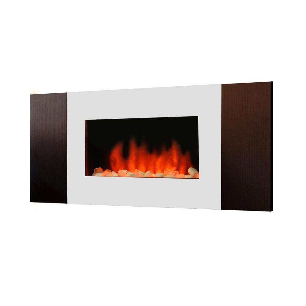 Estate Design Shelby 35 in. Wall Mount Electric Fireplace in Stainless Steel/Walnut-DISCONTINUED