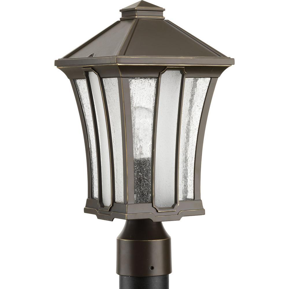 Twain Collection 1-Light Outdoor Antique Bronze Post Lantern