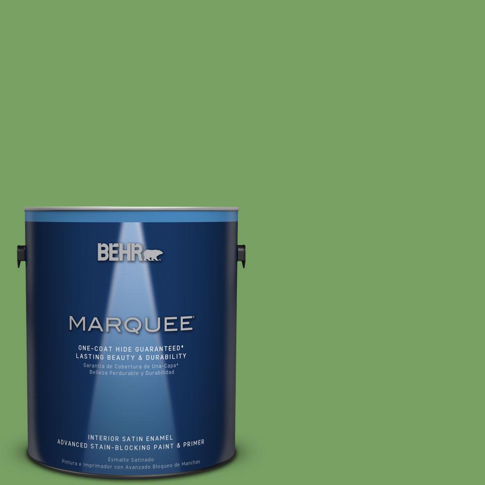 1 gal. #MQ4-47 Parakeet One-Coat Hide Satin Enamel Interior Paint