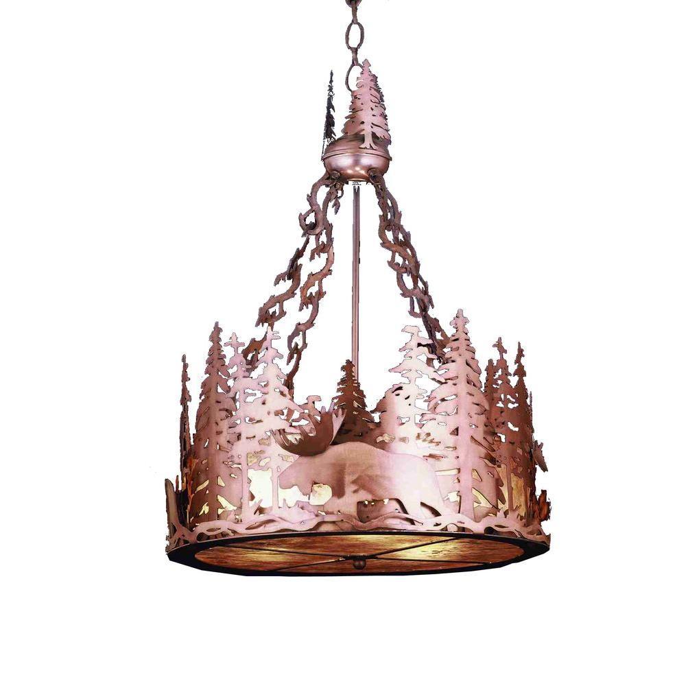 Illumine 3 Light Moose at Dusk Inverted Pendant Antique Copper Finish Finish Glass