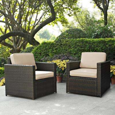 Palm Harbor 2-Piece Wicker Outdoor Seating Set with Sand Cushions - 2 Wicker Outdoor Chairs