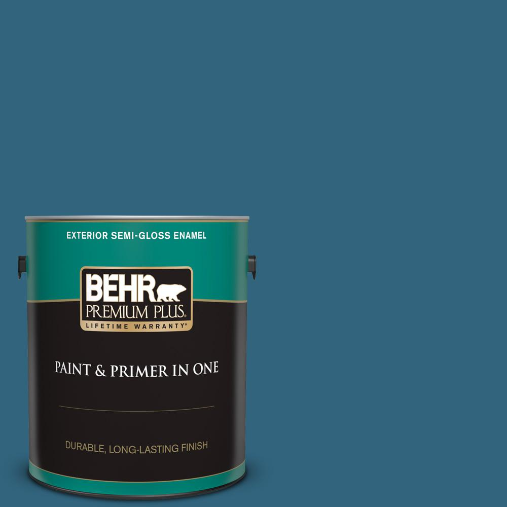 Behr Premium Plus 1 Gal M480 7 Ice Cave Semi Gloss Enamel Exterior Paint And Primer In One 534001 The Home Depot