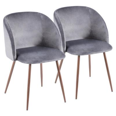 Fran Walnut and Grey Velvet Dining Chair (Set of 2)