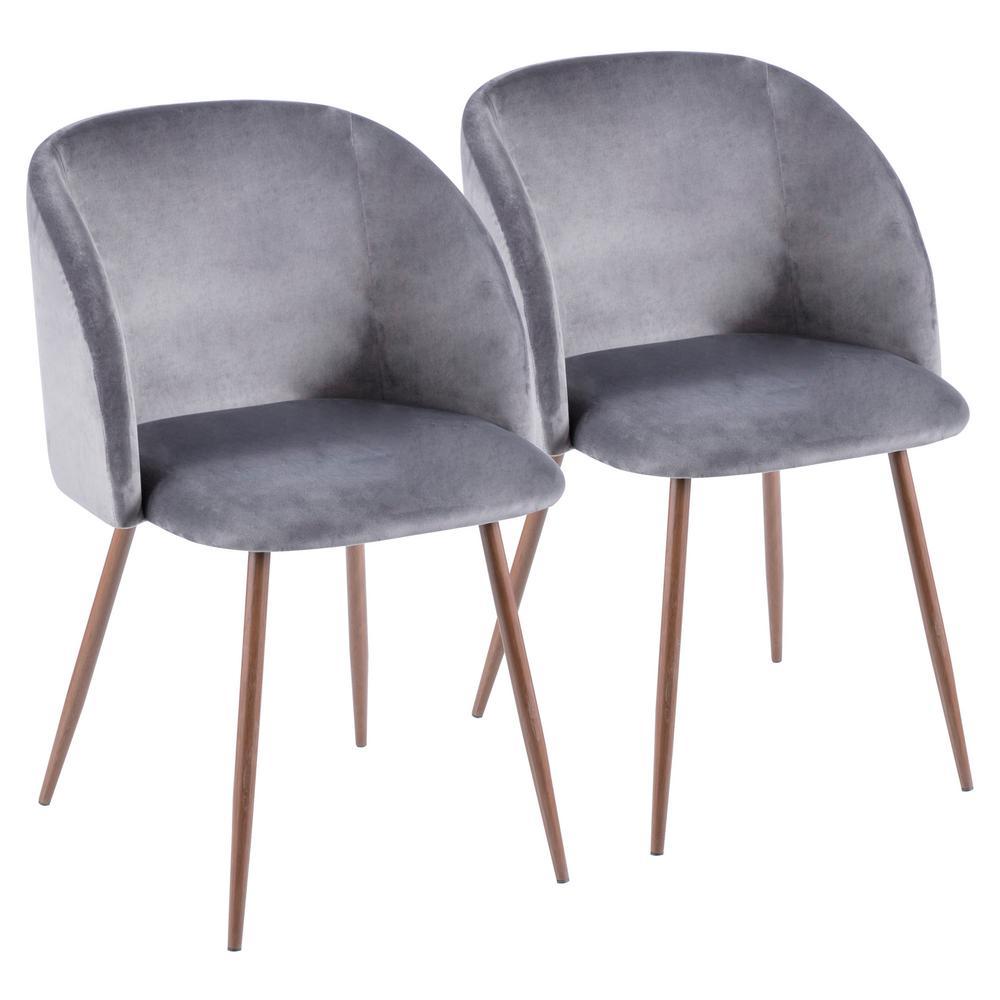 Fran Walnut and Grey Velvet Dining Chair (Set of 2)