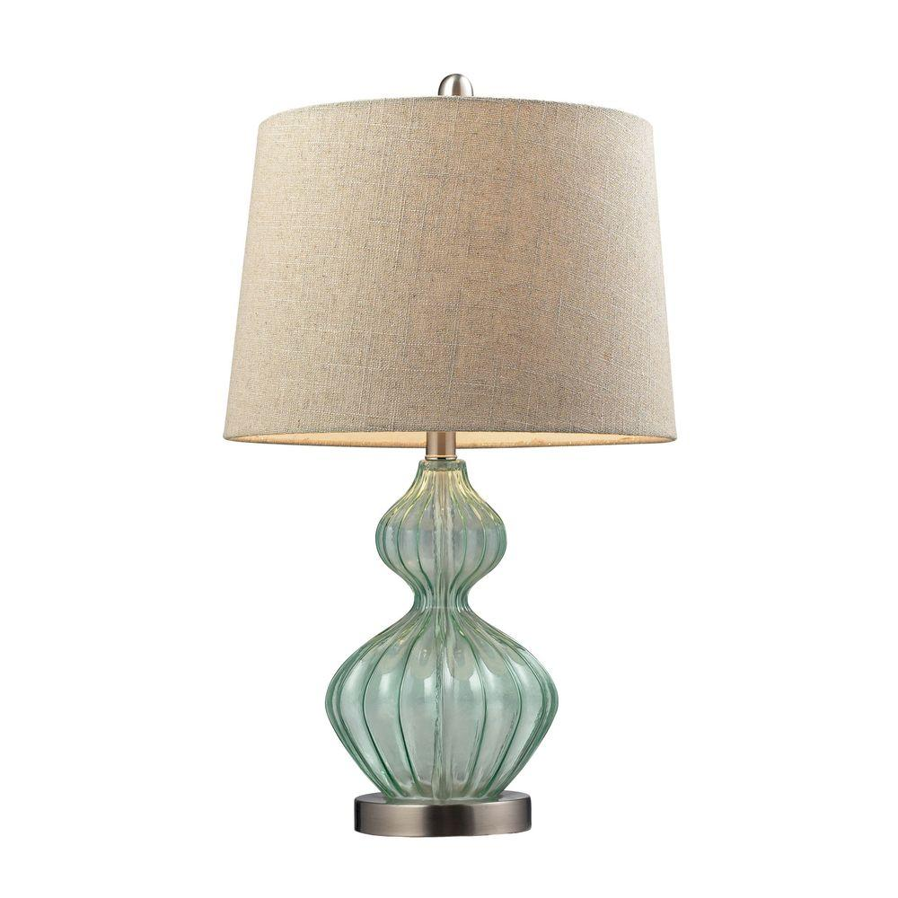 Titan Lighting 25 In Pale Green Smoked Glass Table Lamp With