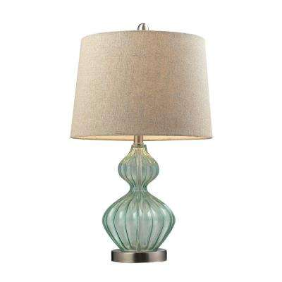 25 in. Pale Green Smoked Glass Table Lamp with Metallic Linen Shade