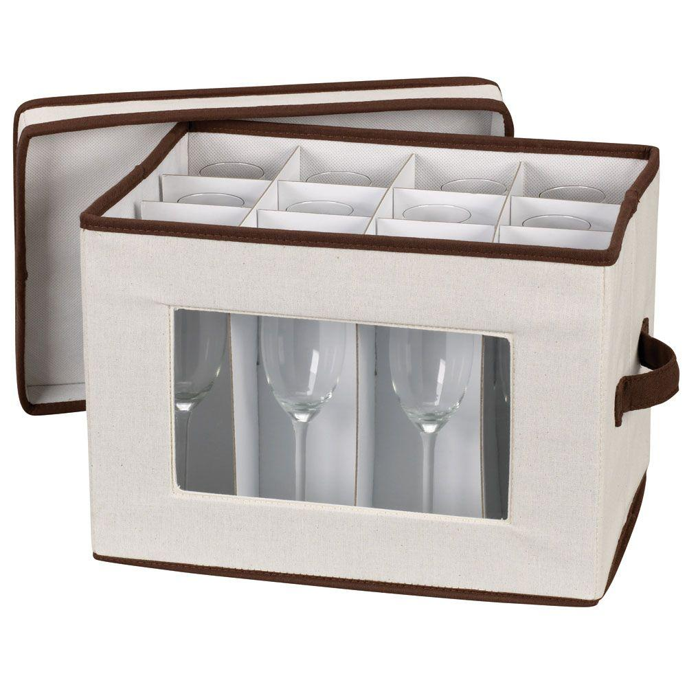 Stemware Storage Chest/Flute Canvas with Trim