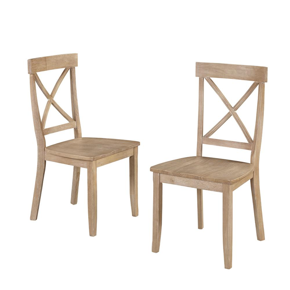 White Wash Wood X-Back Dining Chair (Set of 2)
