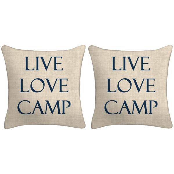 16 in. Live Love Camp Toss Pillows (Set of 2)