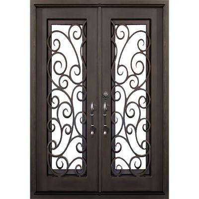 74 in. x 81.5 in. Flat Top Lauderdale Dark Bronze Full Lite Painted Wrought Iron Prehung Front Door (Hardware Included)
